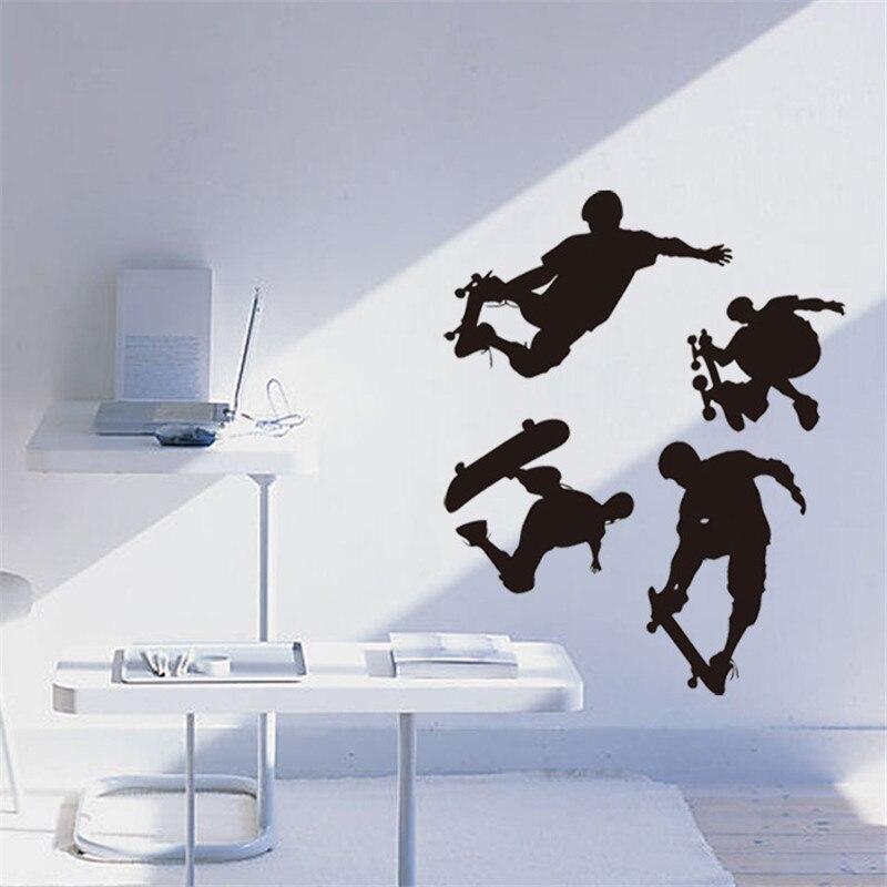 DIY Graphic vinyl wall sticker of Skate Board Boy Portrait for bedroom decorative wall decal mural vinilos pegatinas de pared