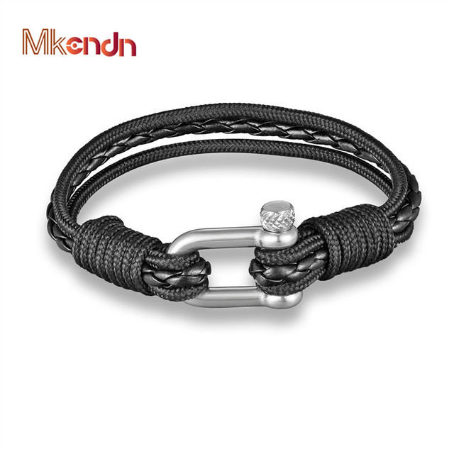 Mkendn New Fashion Multilayer Charm Women Leather Bracelet Wristband Black Anchor Men Jewelry Accessories Pulseras