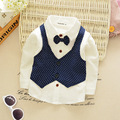 Boys long-sleeved shirt Spring and Autumn 2016 new fashion children's clothes clothing pure cotton vest butterfly Bow Tie coat