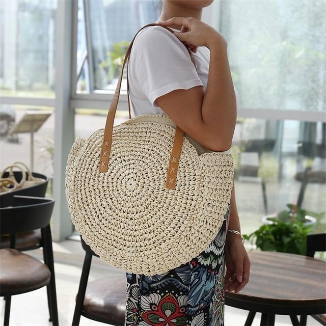 brixini.com - Vintage Round Straw Beach Bags