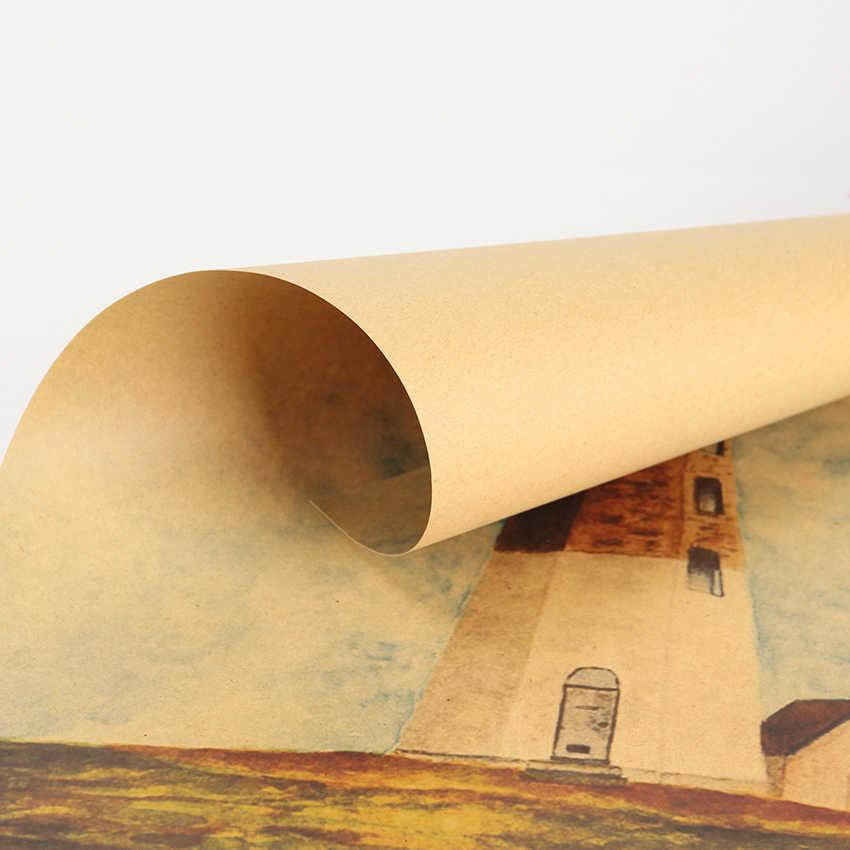 TIE LER Autoadesivo Della Parete Eterna Promessa Faro Bianco Pittura A Olio Retro Kraft Paper Poster Camera Da Letto Sticker 51.5X36cm