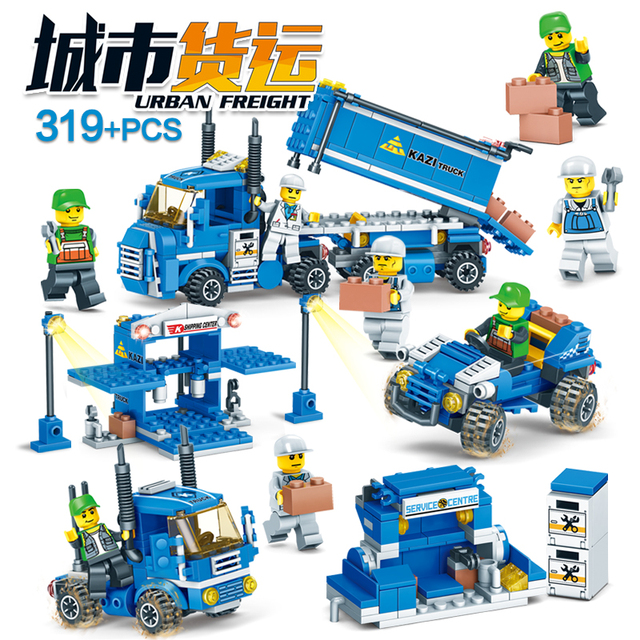 NEW 318pcs 4 IN 1 URBAN FREIGHT Building Blocks LegoINGlys City Truck  Blocks Toy Bricks Educational Building Toys for Children