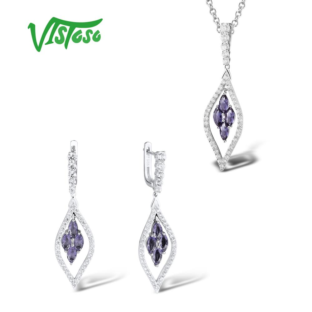 VISTOSO Jewelry Set For Woman Purple Crystal White CZ Stone Jewelry Set Earrings Pendant 925 Sterling Silver Fashion Jewelry 925 sterling silver lovely dumbo white cz stone pendant 9s107a 92 5