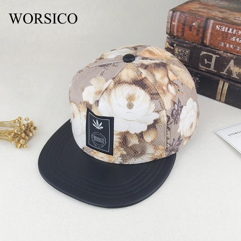Prix pour Worsico 2017 nouvelle arrivée snapback hip hop chapeau de femmes fleur plat casquette de baseball casual fille voyage casquettes réglable chapeaux promotion