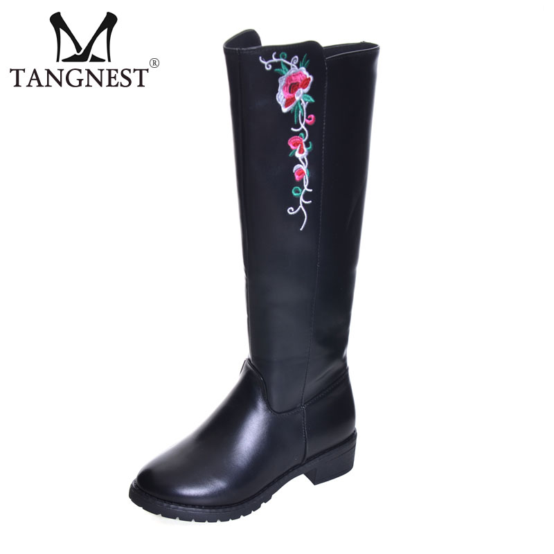 Tangnest NEW Winter Women's Motorcycles Boots Casual Pu Leather Plush Mid-calf Boots Embroider Wedge Boots Size 35~40 XWX6530 double buckle cross straps mid calf boots