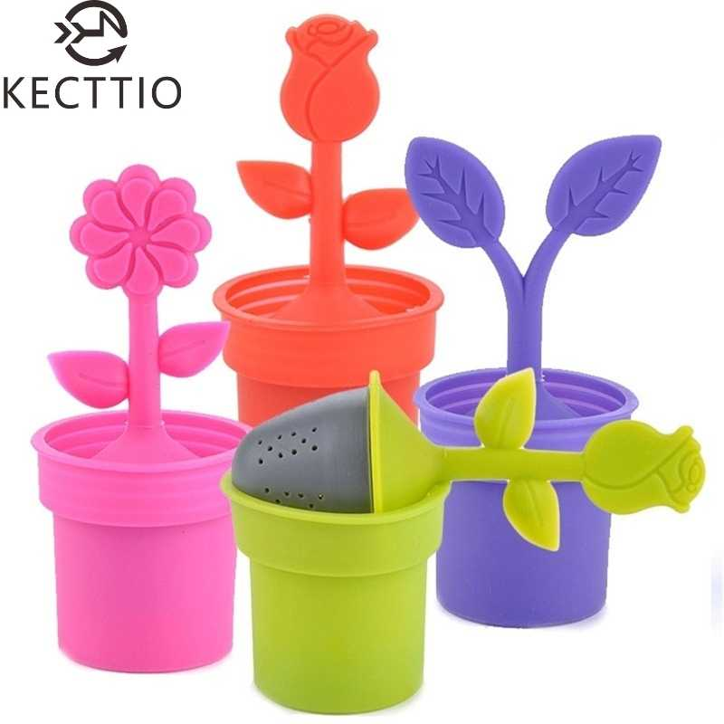 New Multicolor Flower Pot Home Tea Strainers Device Tea Bag Tea Filters Teaspoon Infuser Free Shipping