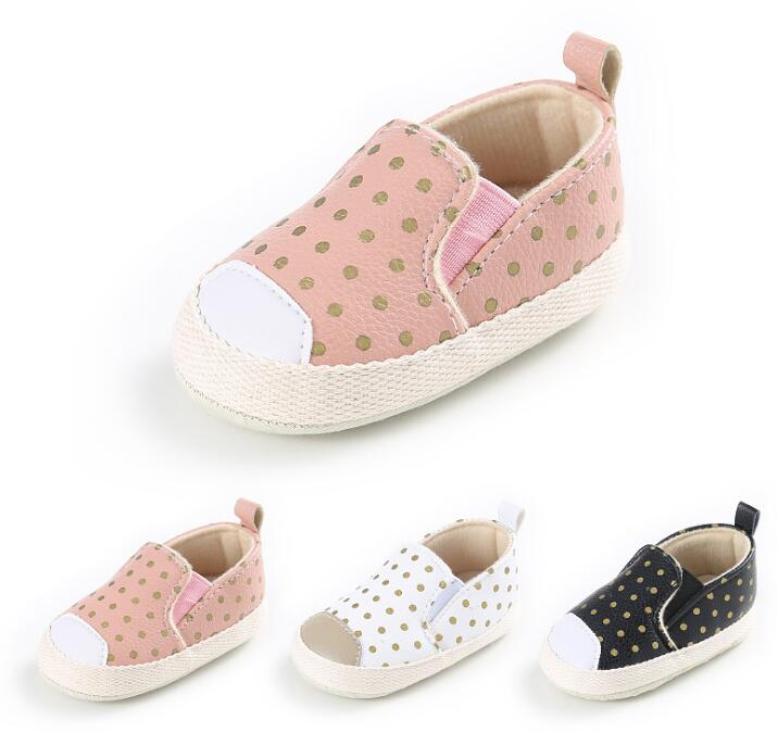 New Gold Polka Dot Newborn Baby Girls Shoes Infant Toddler Princess Baby Moccasins cute Soft Soled kids loafer Shoes
