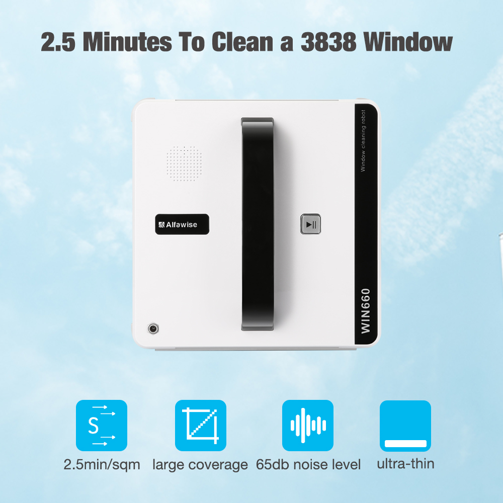 Alfawise WIN660 Window Cleaner Robot High Suction Home Window Cleaning Anti-falling Remote Control Vacuum Cleaner Window Robot