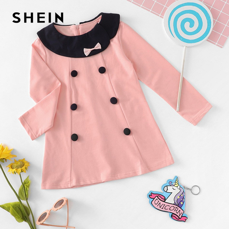 SHEIN Kiddie Girls Pink Double Button Front Preppy Cute Dress Kids Clothes 2019 Spring Long Sleeve Bow A Line Casual Dresses