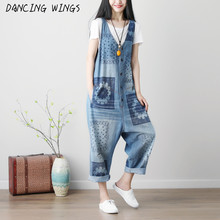 Spring Summer Sleeveless Jumpsuits Washed Printing Bib Pants Women Overalls Loose Casual Hole Denim Suspender Jumpsuit