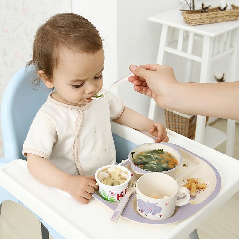 5pcs Bamboo Eco Friendly Childrens Dinner Set Kids Breakfast Feeding Plate Bowl