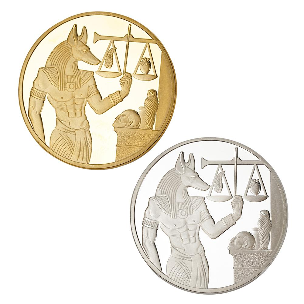 Goldsilver Plated Egypt Death Protector Anubis Coin Copy Coins