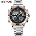 WEIDE Brands Gold Mens Luxury Wrist Watch Analog Digital Quartz Dual Time Zones Display Stainless Steel Bracelet Watches For Men