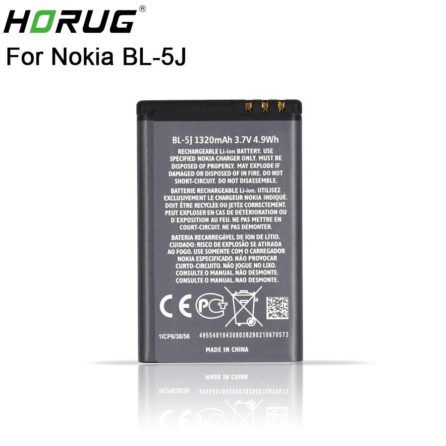 2018 Nova HORUG 100% Original Bateria Do Telefone Para Nokia BL-5J BL 5J BL-5J BL5J 5230 5232 5800 5900 C3 X6 Substituição Da Bateria BL 5J