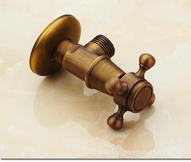 ФОТО Antique C Triangle valve full copper hot thick three-way stop valve is a valve toilet angle valve horoscopes extended
