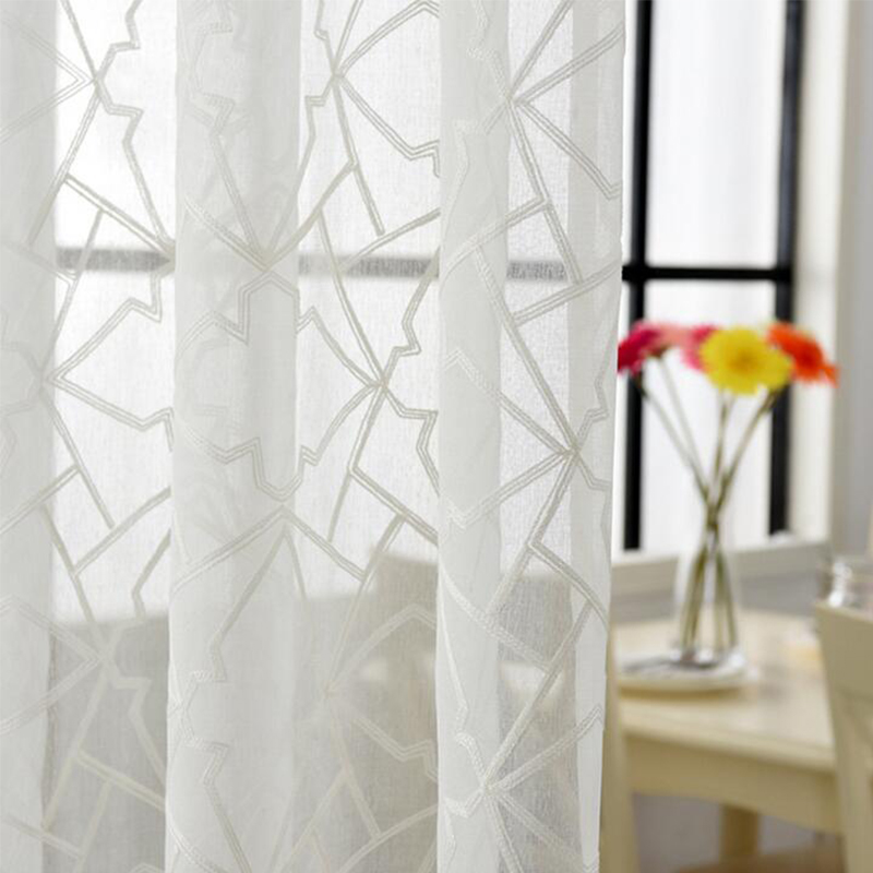 New Customize Tulle Fabrics Cotton 280 Cm High Geometry Embroidered Sheer  Window Curtains For Bedroom Kitchen