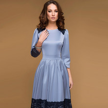 Vintage Women Lace Patchwork Fit and Flare Dress 2018 Autumn New O-Neck  Party Dress Elegant Ladies Mid-Calf Casual Dresses 62dcd1df79a0