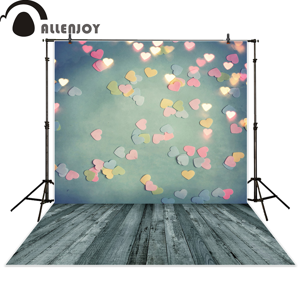 Allenjoy background photography hearts shiny wood Valentine's Day backdrop photo studio fantasy photocall photographic