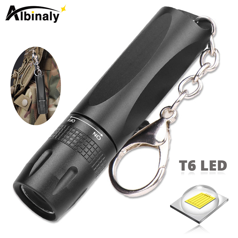Super Bright T6 LED Flashlight With Keychain Use AA Battery MINI Portable LED Torch Suitable For Camping, Night Lighting