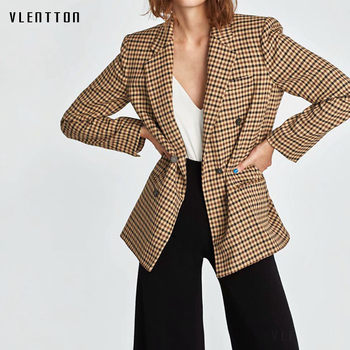 2019 New Vintage Plaid Long Blazer Women Long Sleeve Double Breasted Office Suits Coat Spring Women's Blazer Jacket Outerwear spring 2019 new euro american style slimming coat suit women jacket women coat button notched double breasted plaid
