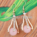 5X Charm Rose Quartz Natural Round Bead Claw Drop Earrings Accessories Gold Plated Set Rhinestone Jewelry