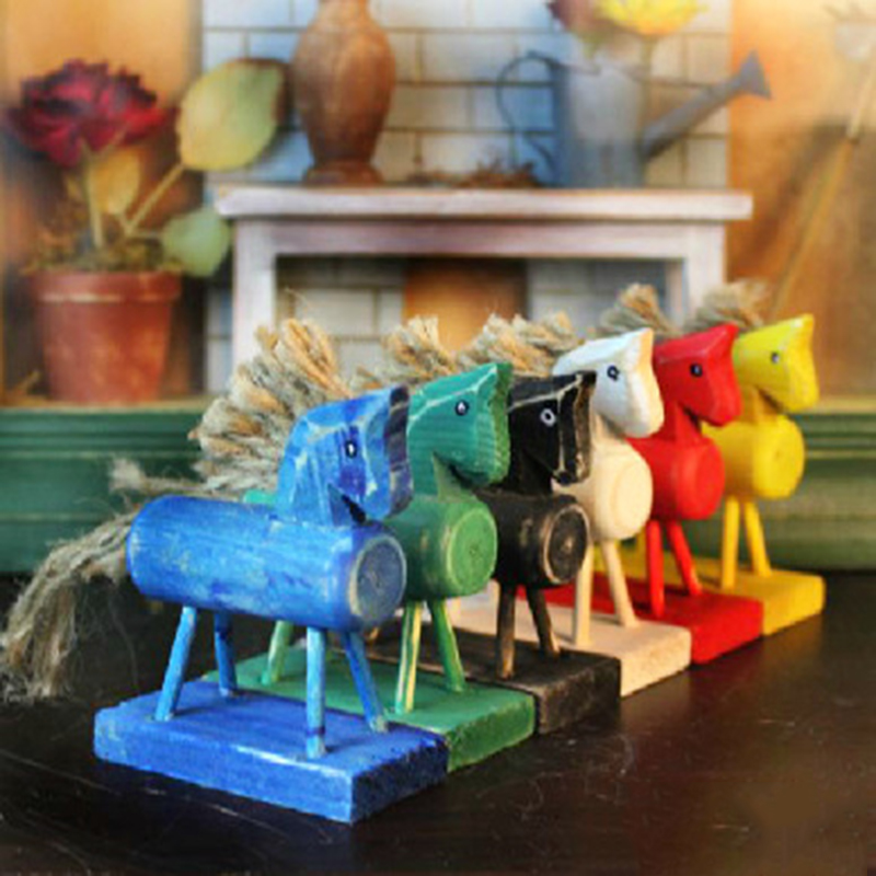 1 Pcs Retro Artificial Wooden Horse Miniature Colorful Horse Desk Home Decoration Crafts Kids Gift Toys for Kidsbrob