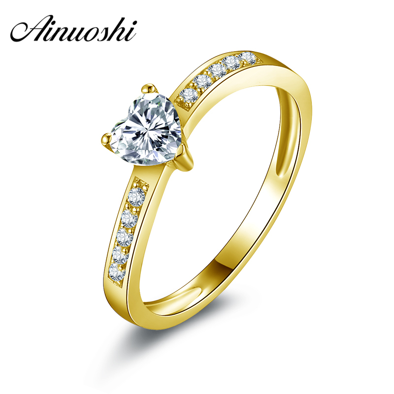 все цены на AINUOSHI 10k Solid Yellow Gold Engagement Rings Simulated Diamond Heart Shape Lovers Promise Ring Wedding Jewelry for Young Lady онлайн