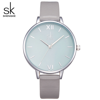 Shengke 2020 New Watches Women Fashion Watch Elegant Dress Leather Strap Ultra Slim Wrist Watch Montre Femme Reloj Mujer image