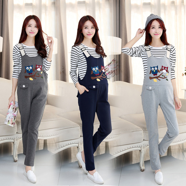 Clothes for Pregnant Pants Maternity Overalls Cartoon Owl Cotton Plus Size Trousers Pants for pregnant Women Maternity Clothes