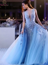 Illusion Blue Appliques Lace Long Evening Dresses 2019 New A-line Scoop Neck Floor Length robe de soiree Formal Party Prom Gowns