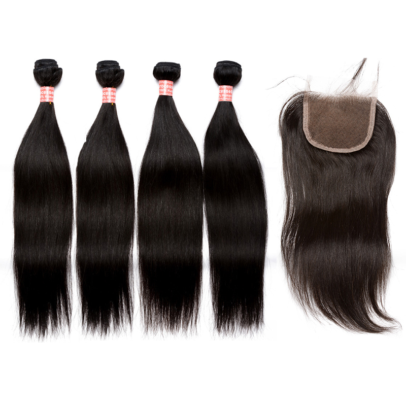 Straight Brazilian Human Hair Bundles With Closure 4 PCS Remy Hair Extensions Natural Color Sunny Queen Hair Products