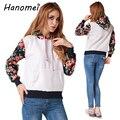 New Floral Print Hooded Sweatshirt Long Sleeve Moletom Feminino 2017 Casual Tracksuit Womens Slim Fleece Ladies Hoodies C383