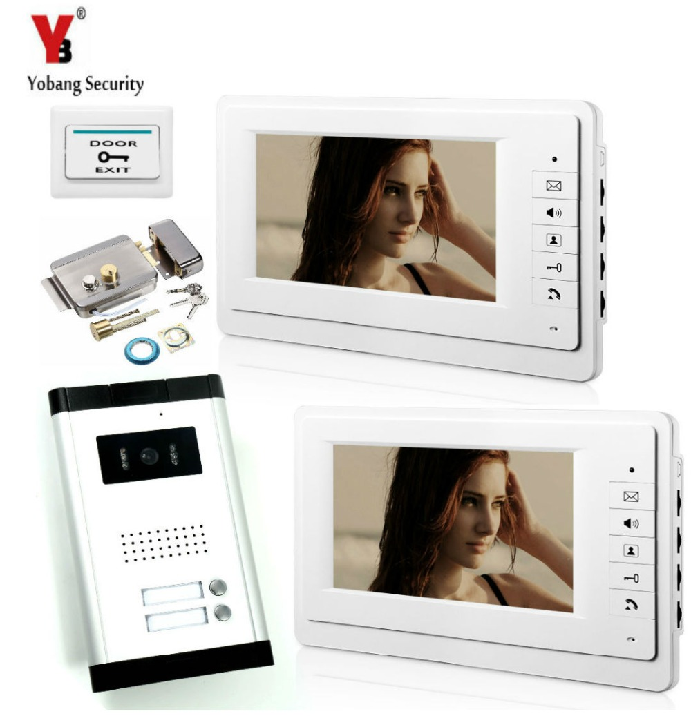 YobangSecurity Inch Wired Video Door Phone Visual Intercom Doorbell Door Lock with 1* Monitor+1* Camera For 2 Units Apartment yobangsecurity wired video door phone intercom 7inch lcd video doorbell camera system 2 camera 2 monitor for apartment house