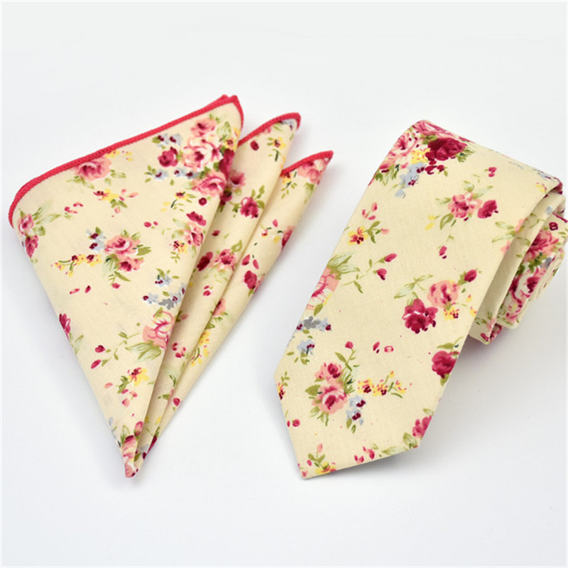 7e9842bff40f5 Aliexpress.com : Buy SCST Brand Gravata Red Floral Print Green 6cm Skinny  Tie Cotton Ties For Men Necktie With Match Pocket Square 2pcs Set CR053  from ...