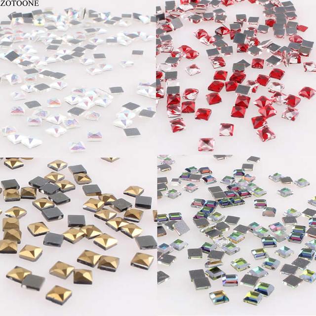 49bd79f962 US $0.42 20% OFF|ZOTOONE 100PCS Hotfix Rhinestone Craft Glass Crystals  Strass Square Shape Rhinestones Flatback Glue DMC Rhinestones for  Clothes-in ...