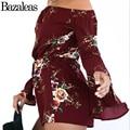 Bazaleas 2017 Strapless Floral Print Jumpsuit Romper Women Tassel Summer Beach Overalls Streetwear Flare Sleeve Playsuit