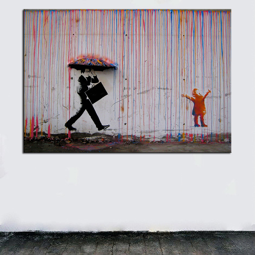 Large Size Printing Oil Painting Banksy Art Colorful Rain Wall Decor Picture For Living Room No Frame