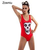 Zosmiu nuevo una pieza bañadores Monos 2018 cráneo impreso mujeres triángulo beachwear traje de baño mujer monokini backless Bañeras Trajes