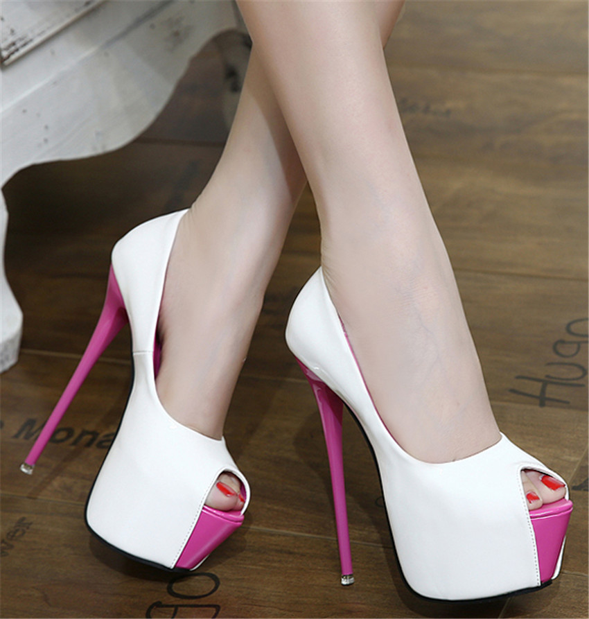 d43c464c10f2 6 Inch White Heels. Black White Patent Leather Womens Open Toe 6Inch  Platform Stiletto High Heels Pumps Sexy Ladies Evening