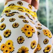 2019 Yellow daisy 6 colors fitness leggings Women  print Push Up Elastic Workout Adventure Time Leggings High Waist Bodybuilding