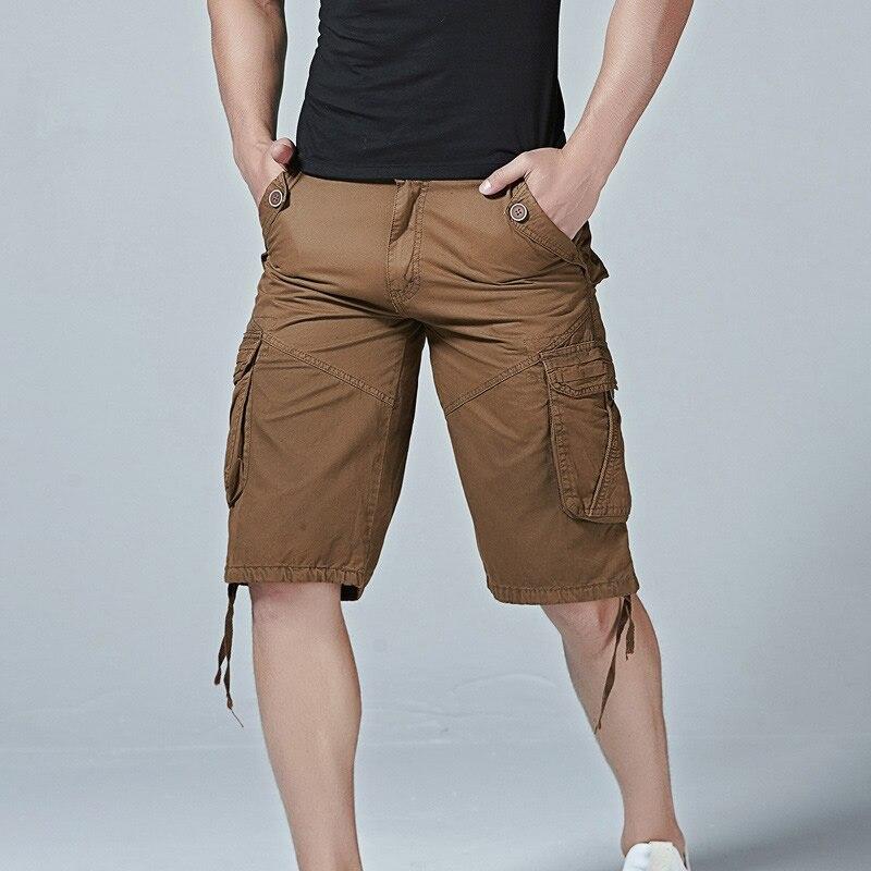 2018 Casual Shorts Men Tassel Middle Waist Mens Clothing Loose Black Solid Shorts Zipper Closure Multi-Pocket Male Khaki