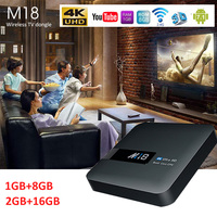 M18 Android 7.1 Smart TV Box S905W 2+16G Bluetooth WiFi STB HD Smart Media Player HDMI AV Video Output Support DLNA TF Card