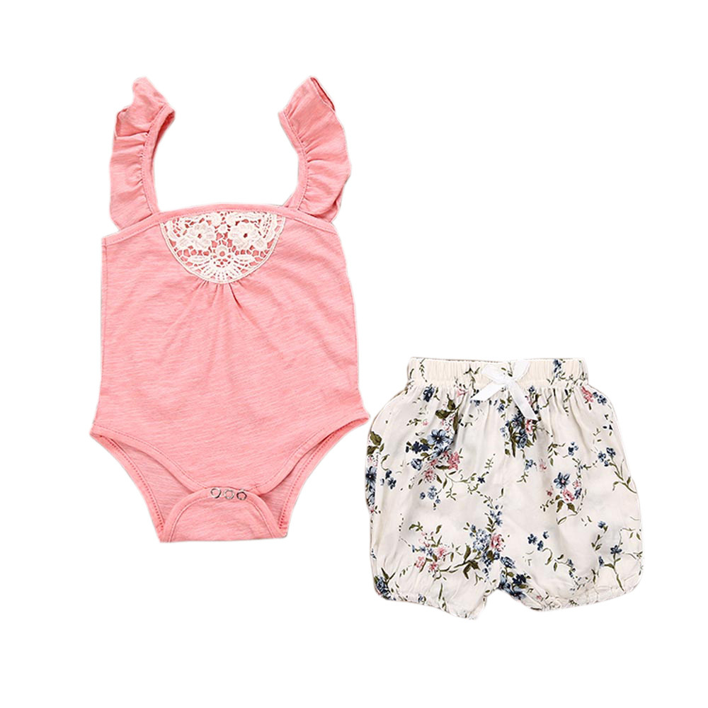 New Toddler Baby Girls Outfit Clothes Lace Romper Jumpsuit+Floral Short Pants 1Set A4114 fashion 2pcs set newborn baby girls jumpsuit toddler girls flower pattern outfit clothes romper bodysuit pants