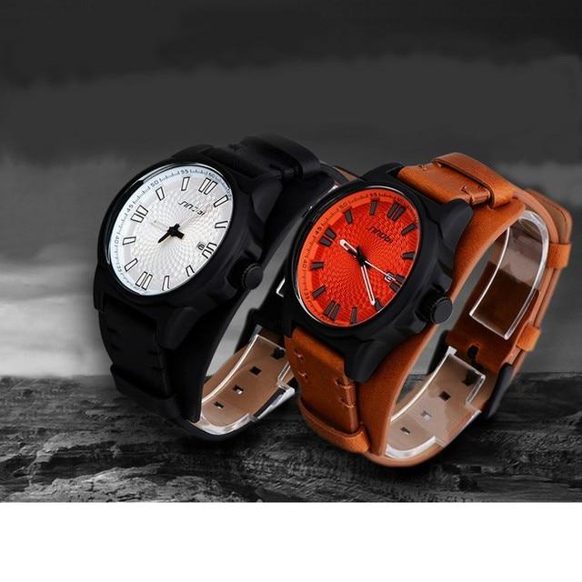 33468360a22 SINOBI Homens Relógio de Pulso Militar Esportes Relógios Pulseira de Couro  Marca de Luxo Do Exército
