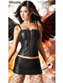 TITIVATE Black Halloween Sexy Dark Fallen Angel Costumes for Adult Women Carnival Nightclub Wear Faux Leather Clothes Top+Skirt