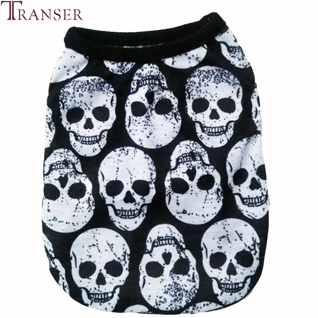 Transer Pet Dog Clothes For Small Dogs Skeleton Print Cat Dog Vest T-Shirt Black Pet Apparel 80118