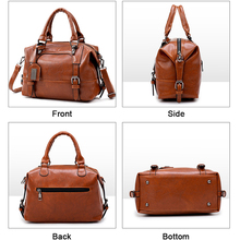 MENGXILU Leather Bags Women Handbags Large Captain Boston Ladies Casual Tote Bags Handbags Women Famous Brand bolsa feminina