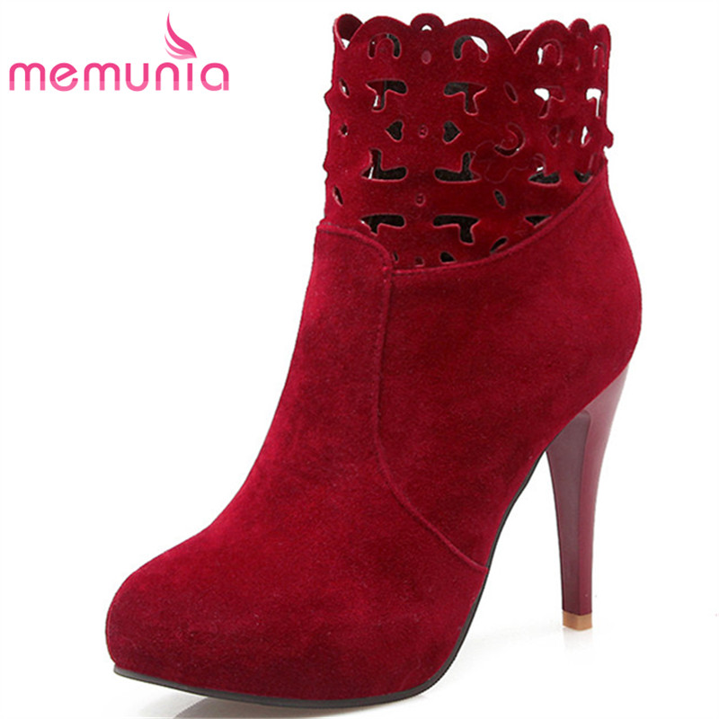 MEMUNIA Fashion shoes elegant ankle boots for women zipper flock solid womens boots spring autumn high heels large size 34-43 memunia 2017 fashion flock spring autumn single shoes women flats shoes solid pointed toe college style big size 34 47