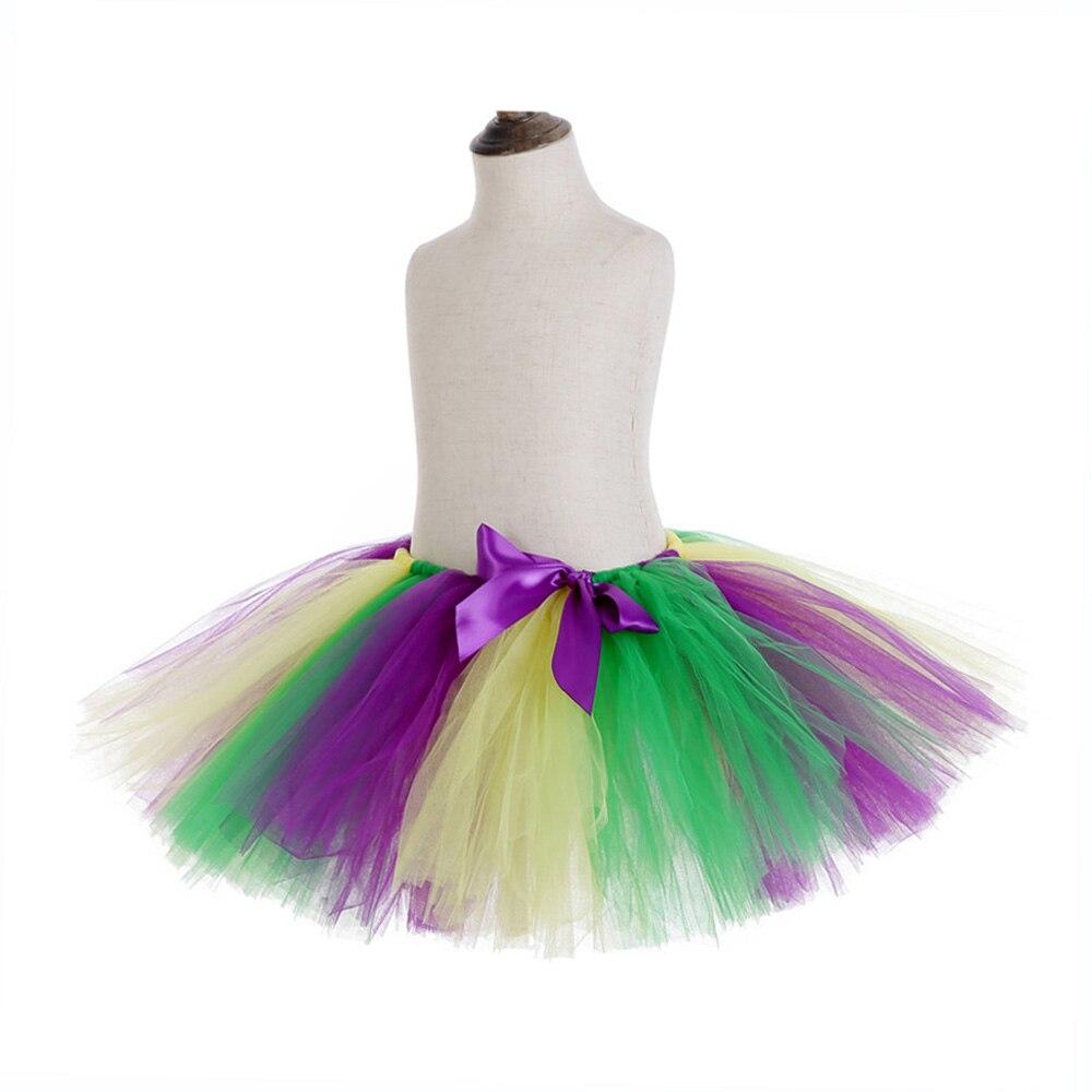 Rainbow Skirt Knee Length Nylon Mesh Tulle Skirt Kids Back to School Costume Happy Easter Party Tutu Skirt with Ribbon Bowknot (12)