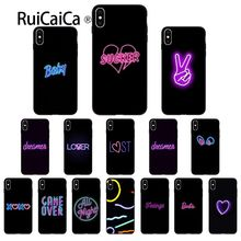 Ruicaica Black background fluorescent pattern font neon Silicone Phone Case for Apple iPhone 8 7 6 6S Plus X XS MAX 5 5S SE XR стоимость